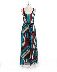 DKNY Sleeveless Printed Maxi Dress - Lyst