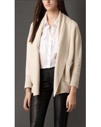 Burberry Shawl Collar Silk Cashmere Cardigan - Lyst