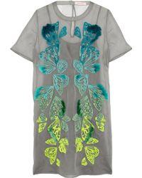 Matthew Williamson Embroidered Silk-organza Mini Dress - Lyst