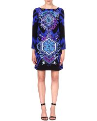 Emilio Pucci Patterned Silk Dress Blue - Lyst