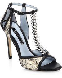 DANNIJO Salma Crystal T-Strap Snakeskin Sandals - Lyst