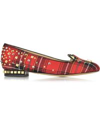 Charlotte Olympia | Sex Pistols Kitty Unplugged Tartan Studded Flats | Lyst