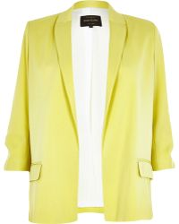 River Island Yellow Ruched Sleeve Blazer - Lyst
