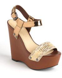Vera Wang Lavender - Jamaya Leather Platform Wedge Sandals - Lyst