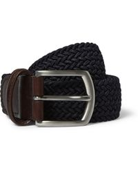 Andersons Blue 35cm Leather-trimmed Elasticated Woven Belt - Lyst