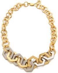 Tory Burch Hexagon Short Necklace Shiny Goldtory Silver - Lyst
