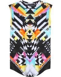 Balmain Printed Jersey Top - Lyst