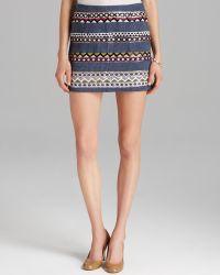 Nicole Miller Artelier Skirt Geometric Jewel Cross Dyed Mini - Blue