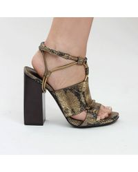 Lanvin Faceted Block Heel Sandal - Lyst