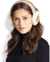 Ugg Leather-trimmed Shearling Earmuffs - Lyst