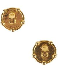 Chanel Pre-Owned Gold Medallion Earrings - Lyst