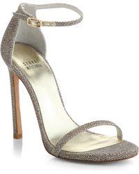 Stuart Weitzman Nudist Ankle-Strap Sandal silver - Lyst