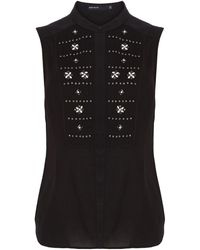 Karen Millen Pretty Graphic Beading Shirt - Lyst