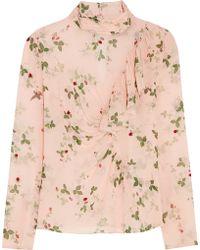 Topshop Unique - Hortensia Printed Silk Blouse - Lyst