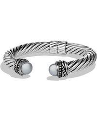 David Yurman Crossover Bracelet with Pearls and Diamonds - Lyst