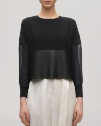 Whistles Top - Faux Leather Trim - Lyst