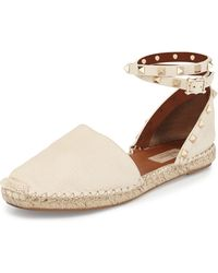 Valentino | Rockstud Leather Ankle-wrap Espadrille | Lyst
