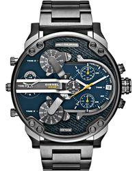 Diesel Men'S Mr. Daddy 2.0 Gunmetal Ion-Plated Stainless Steel Bracelet Watch 57Mm Dz7331 silver - Lyst