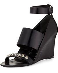 Balenciaga Studded Wedge Sandal - Lyst