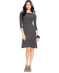 Lauren by Ralph Lauren Striped Drop-waist Dress - Lyst
