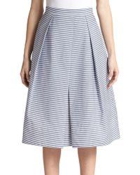 Tibi Striped A-Line Skirt - Lyst