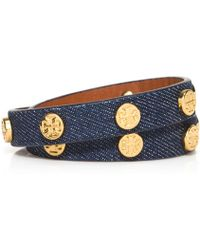 Tory Burch Logo-Studded Denim Wrap Bracelet - Lyst