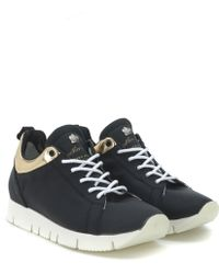Leather Crown Leather-Crown-Sneakers-Aus-Gummiertem-Leder-In-Schwarz-Und-Goldenen-Details black - Lyst