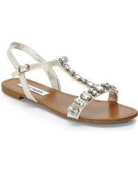Steve Madden Silver Bellow Jeweled Sandals - Lyst