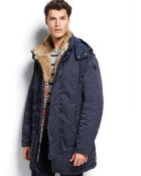 Armani Jeans Rabbit Fur-collar Coat - Lyst