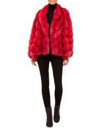 Helen Yarmak International Red Reversible Barguzine Sable Coat