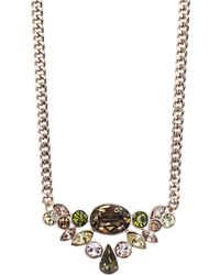 Givenchy Gold Tone and Mixed Cluster Crystal Frontal Necklace - Lyst