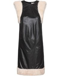 Christopher Kane Black Fur-trimmed Dress - Lyst