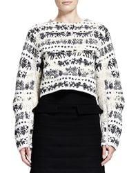 Alexander McQueen Naive Fair Isle Cropped Zip-sleeve Sweater - Lyst