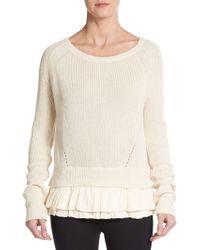 Maje Eclusio Ruffle-Underlay Sweater - Lyst