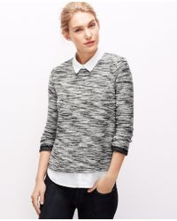 Ann Taylor Petite Layered Tweed Top - Lyst