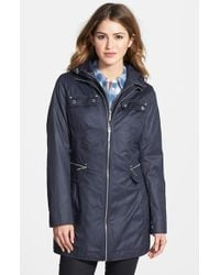 Laundry by Shelli Segal Tie Back Coat With Hooded Bib Insert - Lyst
