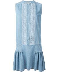 Ermanno Scervino Embroidered Detail Denim Dress - Lyst