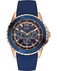 Guess Mens Blue Silicone Strap Watch 46mm - Lyst