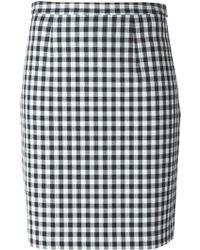 Diane von Furstenberg Pleated Back Check Skirt - Lyst