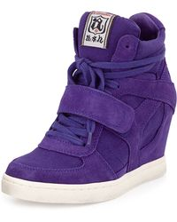 Ash Suede & Canvas Wedge Sneaker - Lyst