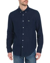Lacoste Navy Blue Lined Shirt - Lyst