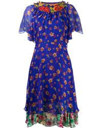 Duro Olowu Floral Sheer Dress - Blue