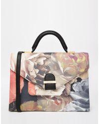 Ted Baker Technicolour Crosshatch Satchel Style Tote Bag - Black