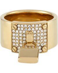 Michael Kors Gold Padlock Ring - Lyst