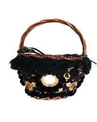 FABRIX Beige Straw Snakeskin Pom Pom Crystal Agnese Bag - Multicolor