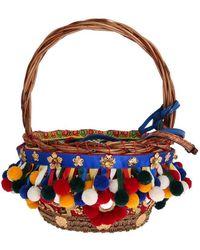 FABRIX Multicolor Agnese Straw Crystal Pom Pom Bag - Blue