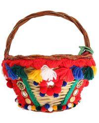 FABRIX Multicolor Agnese Straw Crystal Pom Pom Bag - Red
