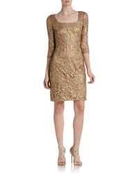 Kay Unger Embroidered Metallic Lace Sheath Dress - Lyst