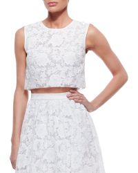 Erin Erin Fetherston Sleeveless Lace Crop Top - Lyst