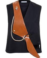 JW Anderson Leather Lapel Vest - Black